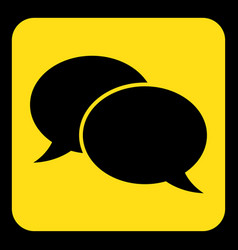 Yellow black sign - two speech bubbles icon vector