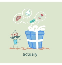 Actuary with a gift in which the cars houses money vector
