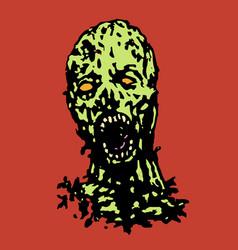 Cruel zombie head vector