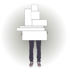 Man holding seven boxes vector