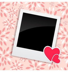 Valentines day photo card with heart vector