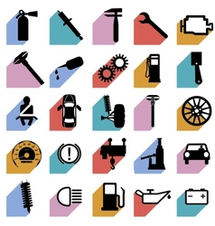 Collection flat icons with long shadow car symbols vector