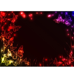 Frame made of plasma butterflies vector