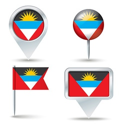 Map pins with flag of Antigua and Barbuda vector image