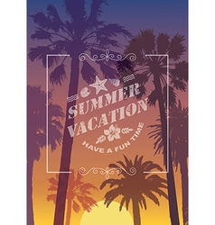 Exotic travel background with palms vector