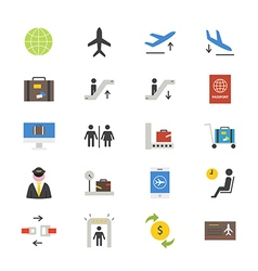 Airport Flat Icons color vector image