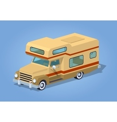 Low poly brown motor home vector