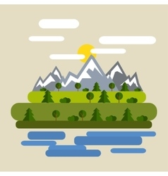 Forest mountain flat design natural vector