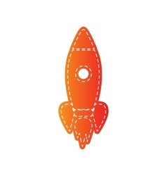 Rocket sign  orange applique isolated vector