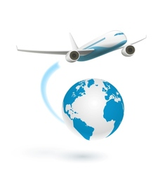 Airplane flying around the globe vector image vector image
