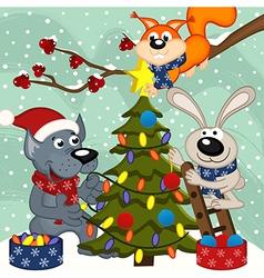Animals decorating christmas tree vector