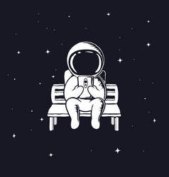 Astronaut with mobile phone vector