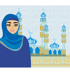 Beautiful muslim women on mosque background vector