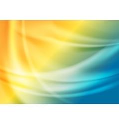 Bright blue orange soft blurred waves vector image