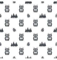camping pattern with backpack trees and pine cone vector image