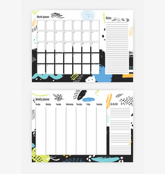 Collection of month and weekly planner templates vector