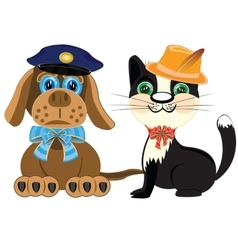 Dog police and cat in hat vector image vector image