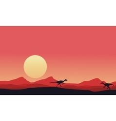 Eoraptor landscape at afternoon vector