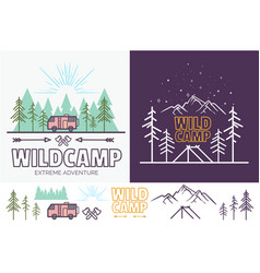 Forest camp linear with tent vector
