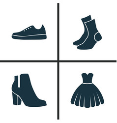 Garment icons set collection of female winter vector