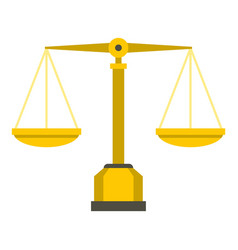 Gold scales of justice icon isolated vector