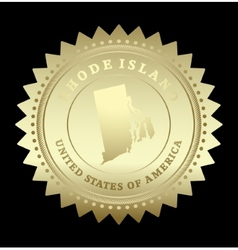 Gold star label rhode island vector