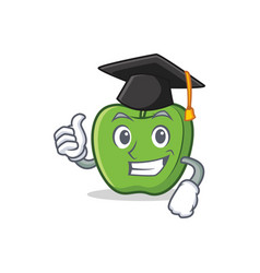 Graduation green apple character cartoon vector