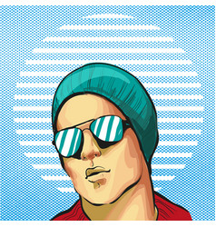 guy young handsome fancy in hat and sunglasses vector image vector image