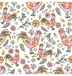 Hand Drawn Rooster Seamless Pattern Chinese New vector image