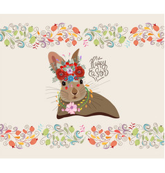 happy easter with rabbit and floral doodle frame vector image vector image