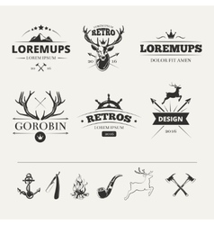 Hipster labels set with deer and antlers vector image vector image