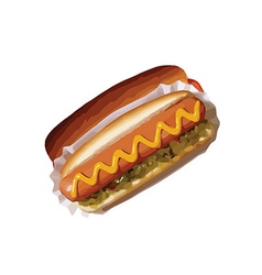 Hotdog with mustard vector
