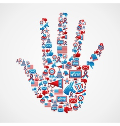 I vote in usa elections icons hand vector