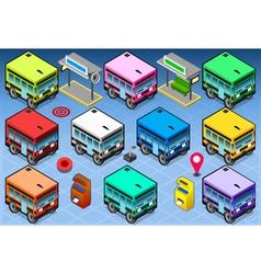 Isometric Rainbow Buses vector image