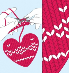 Knit heart vector
