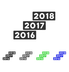 Levels from 2016 to 2018 flat icon vector