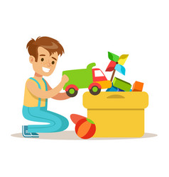 little boy and many toys in a box part of vector image vector image