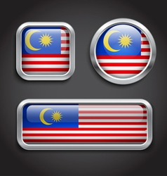 Malaysia flag glass buttons vector