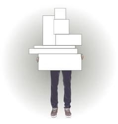 Man holding seven boxes vector