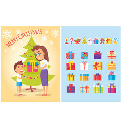 merry christmas postcard mother gives present son vector image vector image