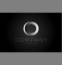 O black white silver letter logo design icon vector