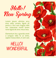 Poster of poppy flowers hello spring quote vector