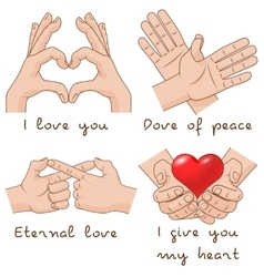 Set of hands depict the enternal love and peace vector