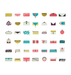 set with stylish vogue purses and clutches vector image