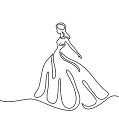 silhouette of a slender bride in long dress vector image