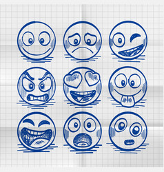 sketch of hand drawn set of cartoon emoji vector image