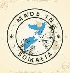 Stamp with map flag of Somalia vector image