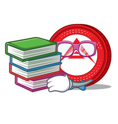 Student with book ark coin mascot cartoon vector