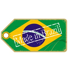 Vintage label with the flag of brazil vector