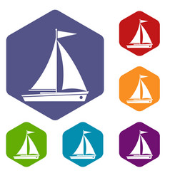 yacht icons set vector image